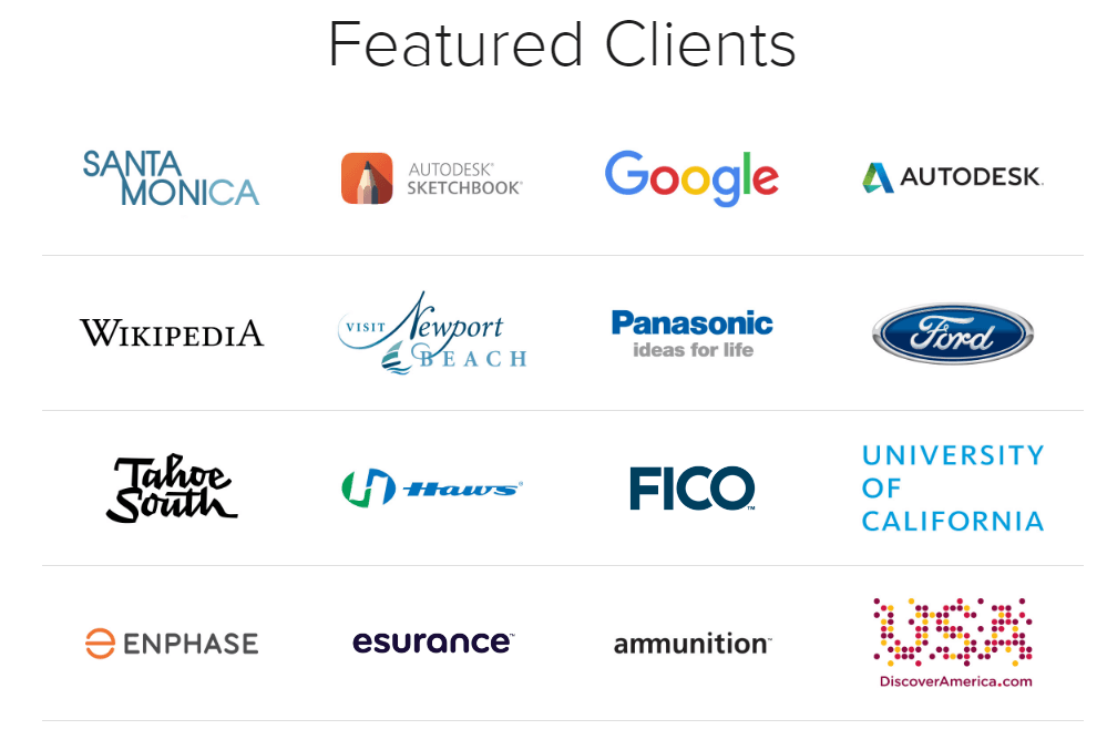 This picture shows how marketing agencies can display featured clients on the homepage to sign more clients.