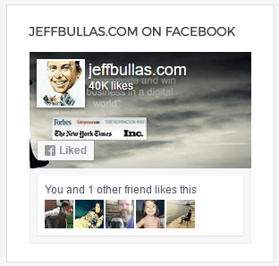 This picture shows how Jeff Bullas uses social proof and fan counters on Facebook to establish thought leadership.