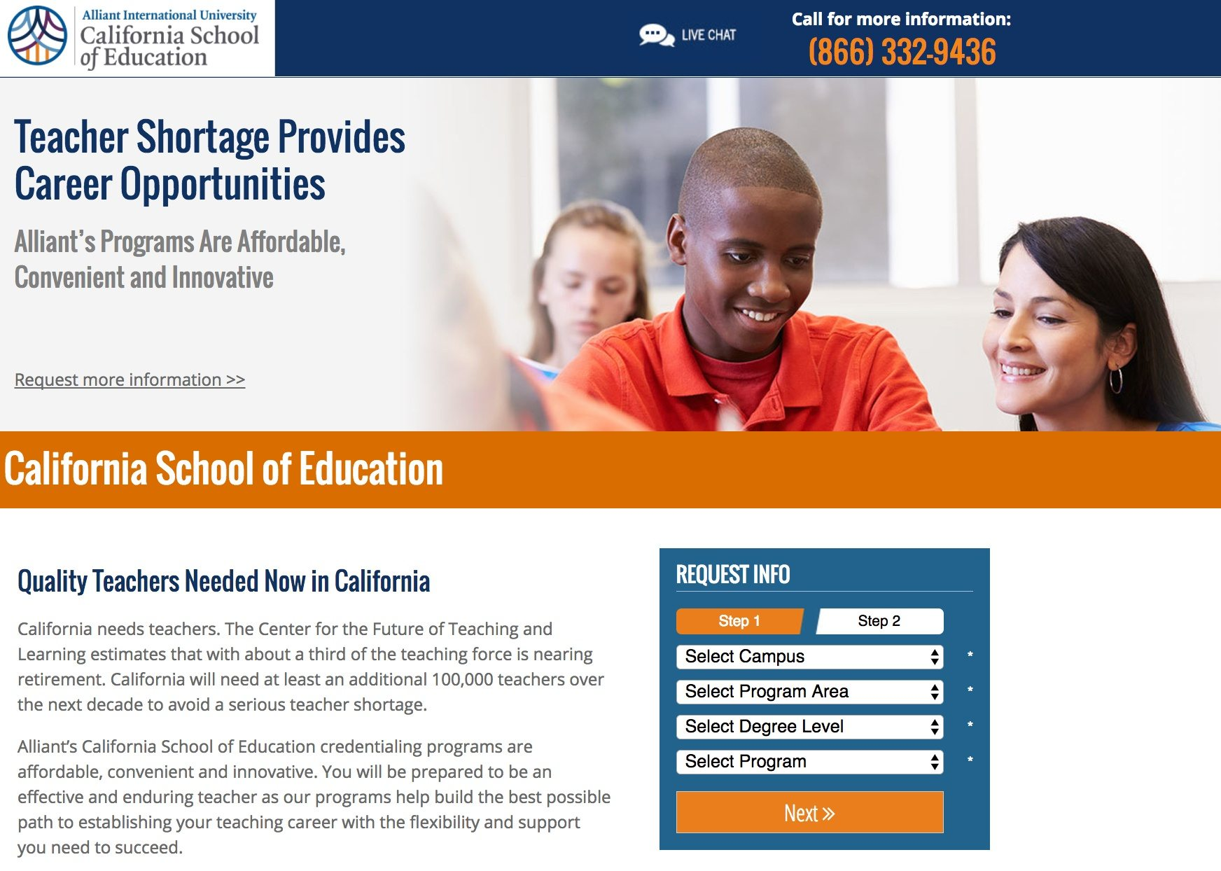 This picture shows marketers how Alliant University uses an education landing page to generate new leads and student sign ups.