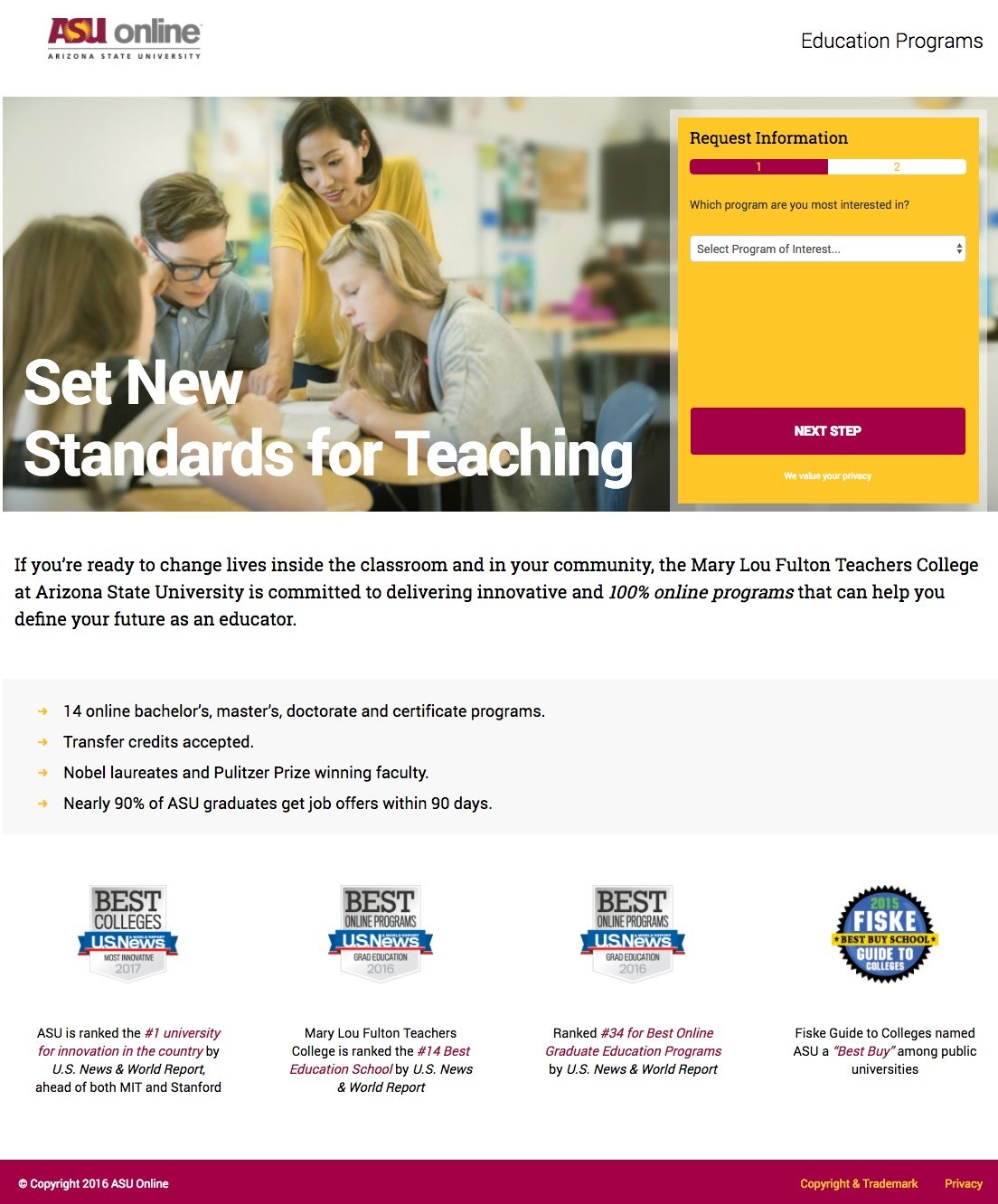 This picture shows marketers how Arizona State uses an education landing page to generate new student sign ups.