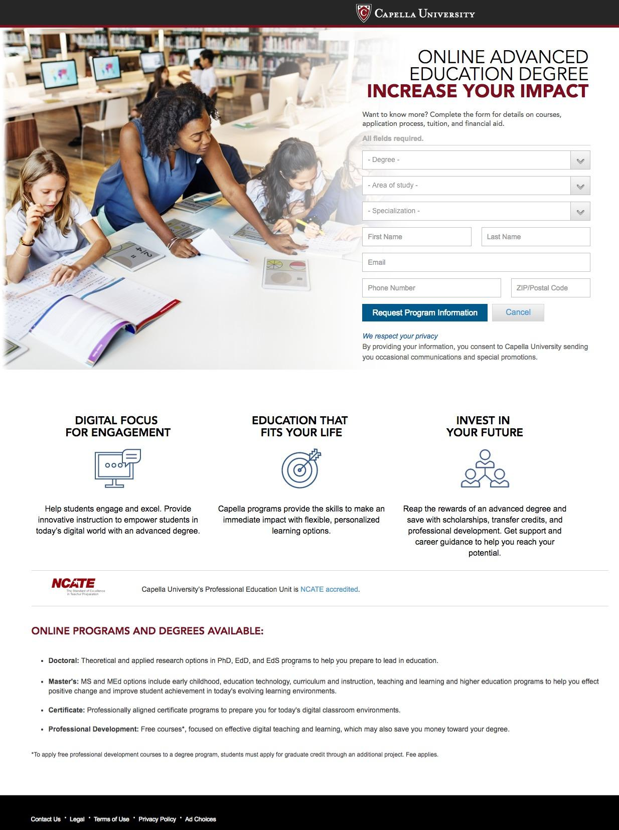 This picture shows marketers how Capella University uses an education landing page to generate new student sign ups.