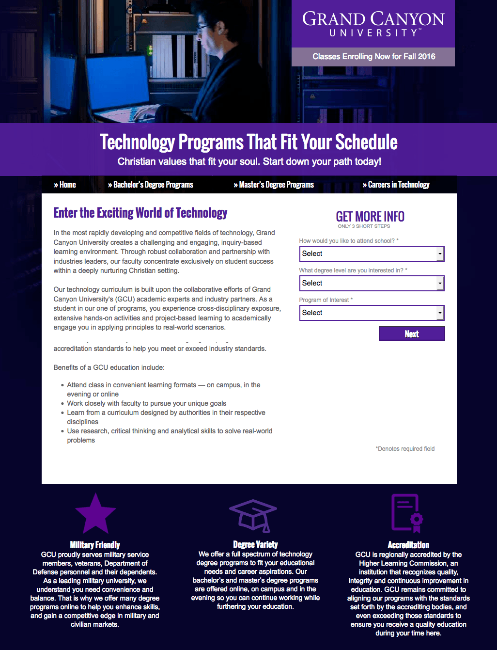 This picture shows marketers how Grand Canyon University uses an education landing page to generate new leads and student sign ups.
