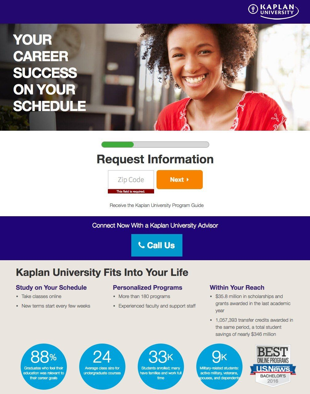 This picture shows marketers how Kaplan University uses an education landing page to generate new student sign ups.