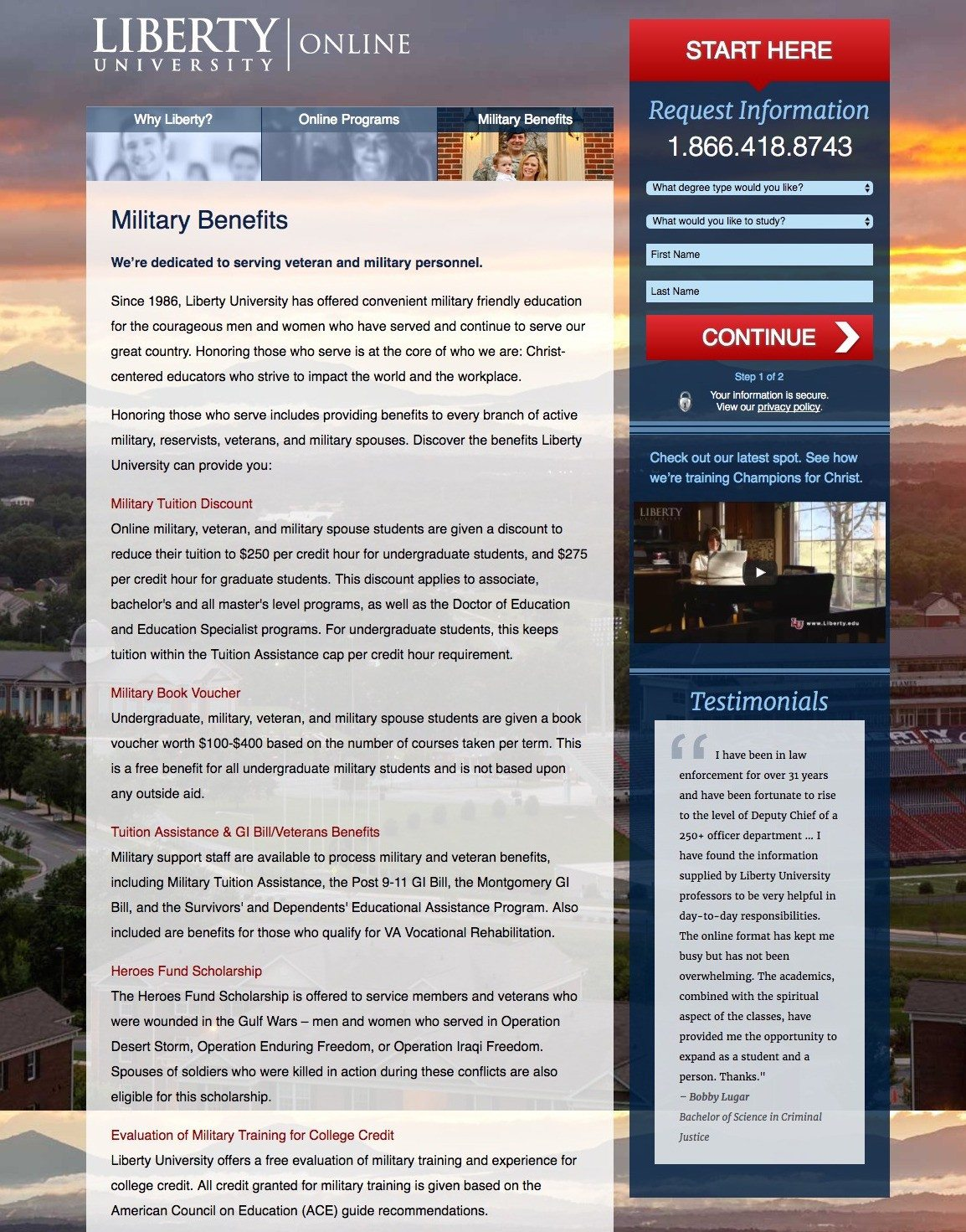 This picture shows marketers how Liberty University uses an education landing page to generate new leads and student sign ups.