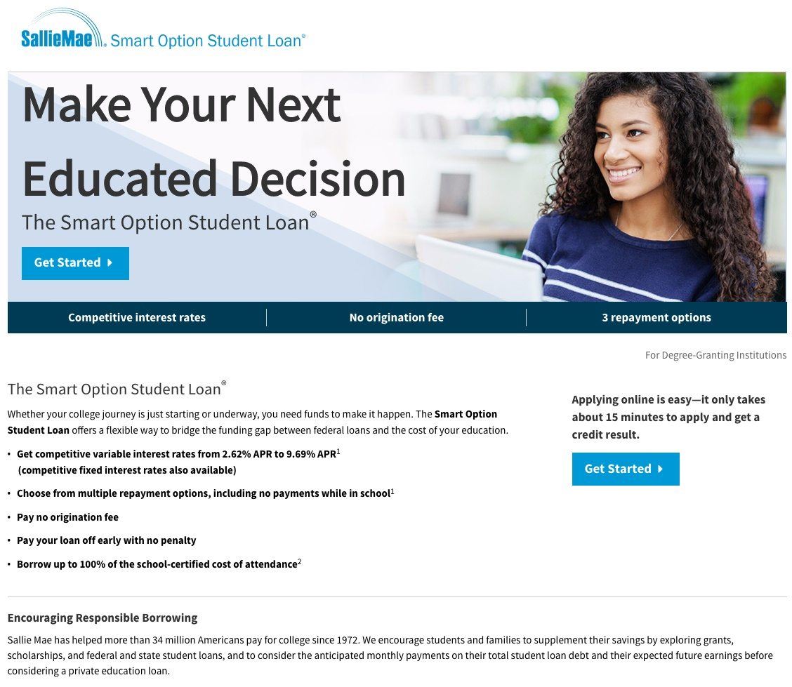 This picture shows marketers how Sallie Mae uses an education landing page to generate new leads and student loan applications.