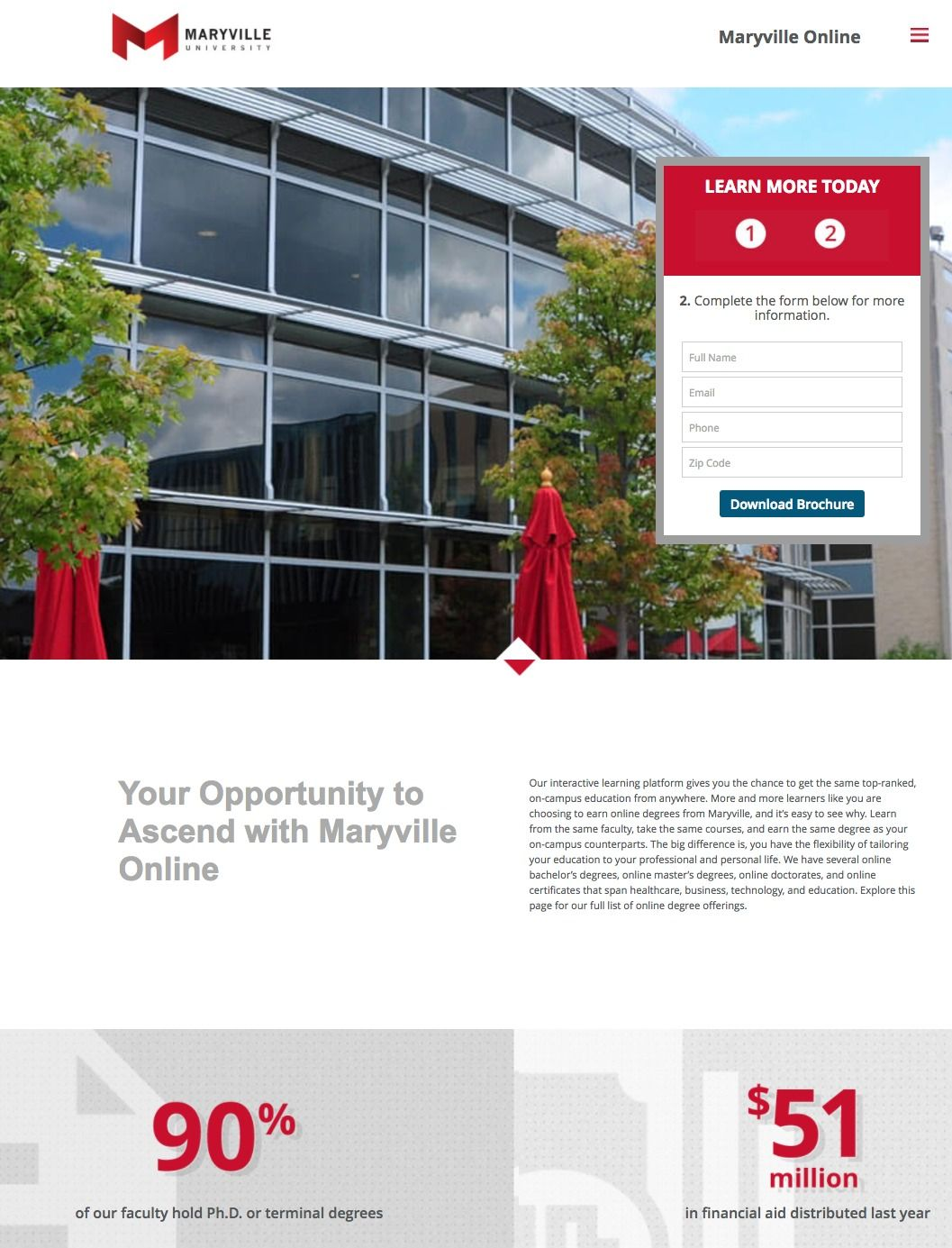 This picture shows marketers how Maryville University uses an education landing page to generate new leads and student sign ups.