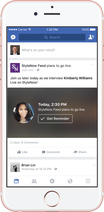This picture shows marketers how Facebook Live streams' reminder notification looks on mobile devices.