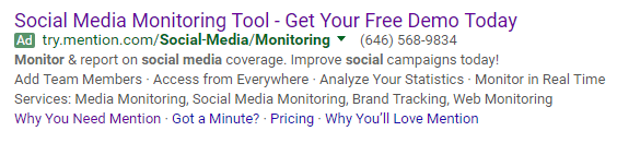 This picture shows marketers how Mention uses message match in its paid search ads to increase audience engagement.