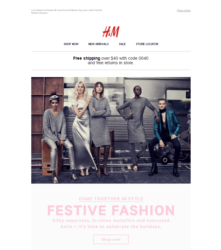 This picture shows marketers how H&M fails to use a marketing automation landing page to increase engagement and sales.