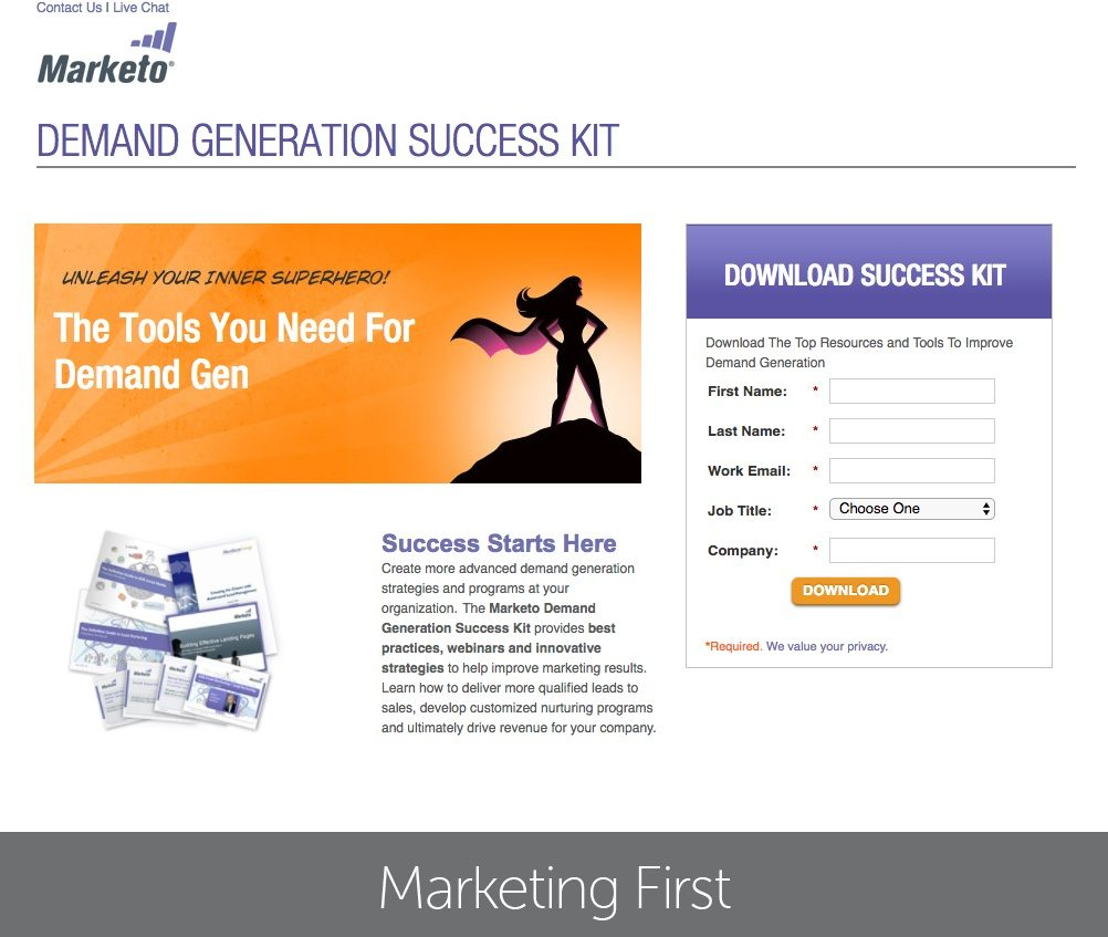 This picture shows how Marketo uses a landing page to generate success kit downloads and new leads.