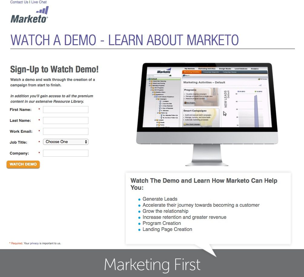 This picture shows how Marketo uses a landing page to generate demo sign ups and increase revenue.