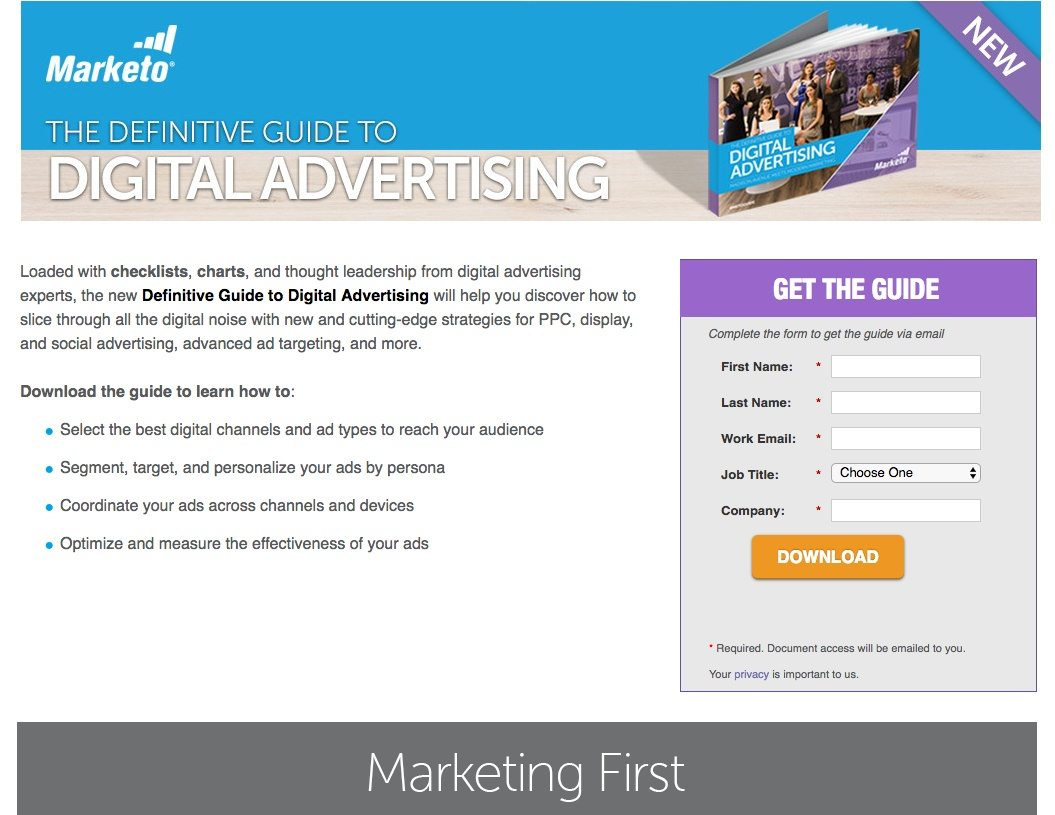 This picture shows how Marketo uses a landing page to generate leads and downloads from its digital advertising guide.