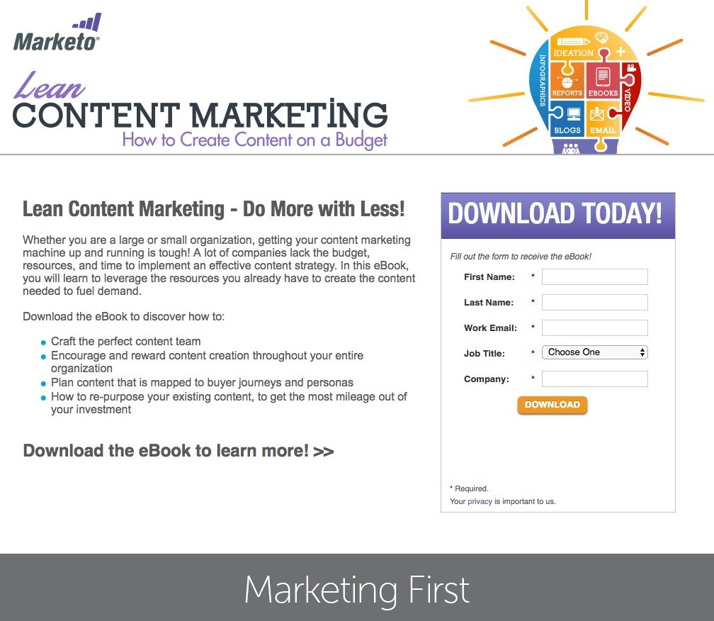 This picture shows how Marketo uses a landing page to generate leads and downloads from its content marketing ebook.