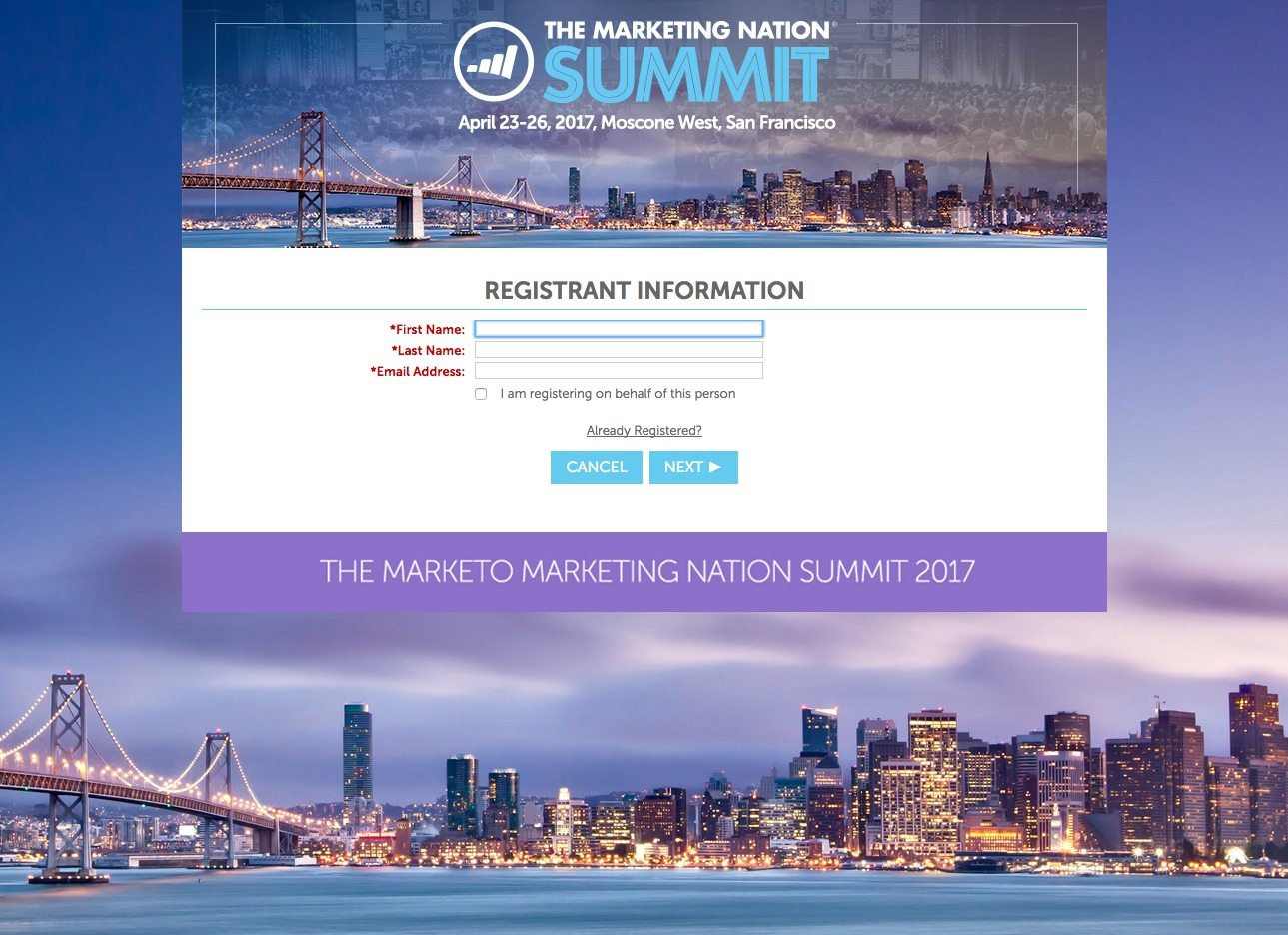 This picture shows how Marketo uses a landing page to generate business event registrations and increase sales leads.