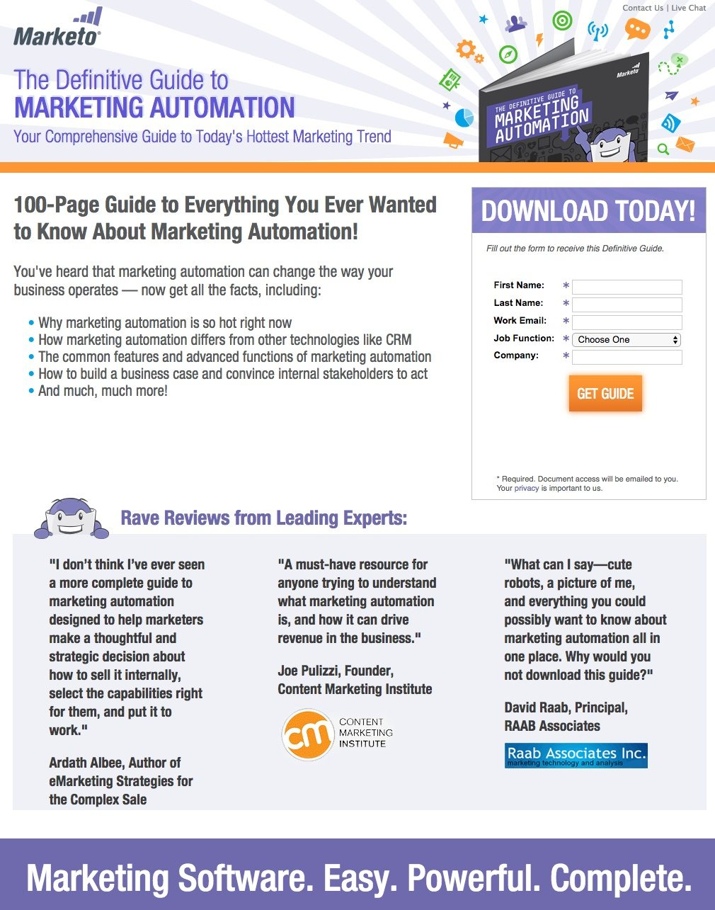 This picture shows how Marketo uses a landing page to generate leads and downloads from its marketing automation guide.