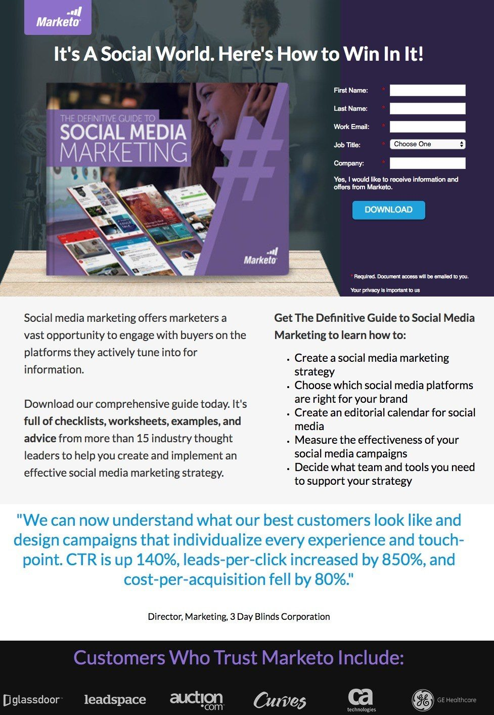 This picture shows how Marketo uses a landing page to generate leads and sales from its social media marketing guide.