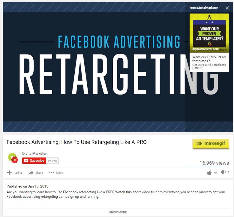"""This picture shows how Digital Marketer uses """"card ads"""" to generate traffic to their YouTube landing page."""