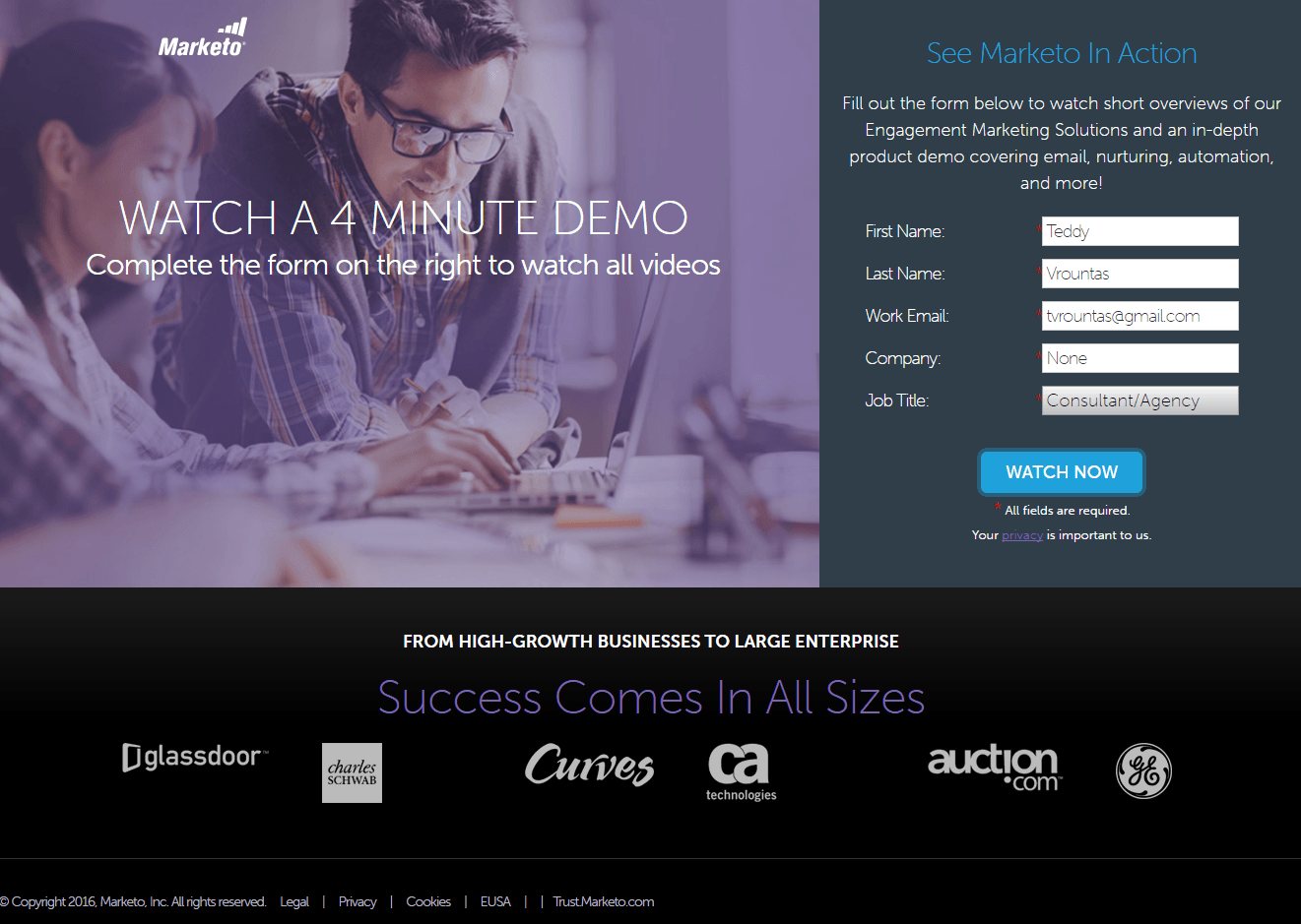 This picture shows how Marketo uses a YouTube landing page to generate demo sign ups and new sales.