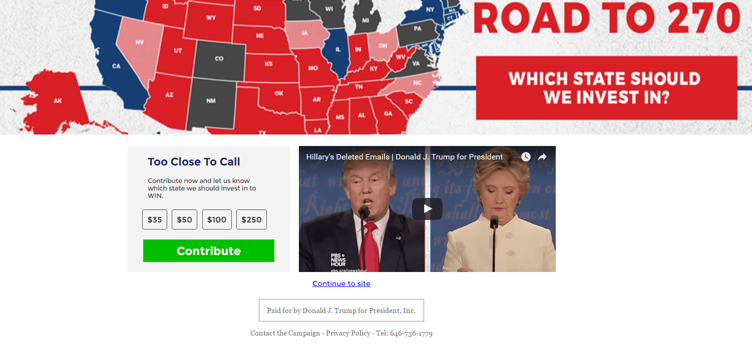 This picture shows marketers how Donald Trump uses a YouTube landing page to generate campaign contributions.