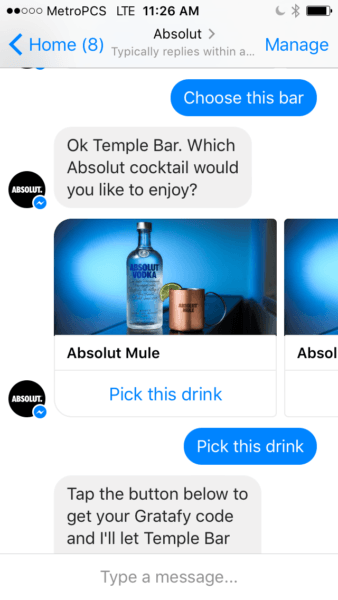 This picture shows marketers how Absolut uses Facebook Messenger Ads to increase engagement and sales.