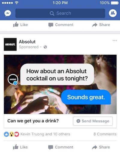 This picture shows marketers how Absolut uses Facebook Messenger Ads with a CTA button to increase engagement and online sales.
