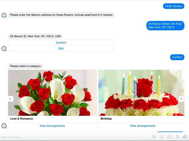 This picture shows marketers how 1-800-Flowers uses Facebook Messenger Ads to increase online sales.