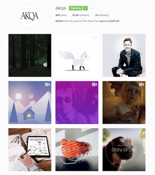 This picture shows marketers how AKQA agency displays their Instagram posts in the grid format to engage audience members.