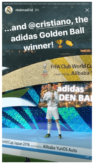 This picture shows marketers how Real Madrid futbol club uses Instagram's Mention feature to partner with Cristiano Ronaldo and engage the audience.
