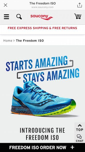 This picture shows marketers how Saucony uses the Instagram link feature to generate product page views and sales.