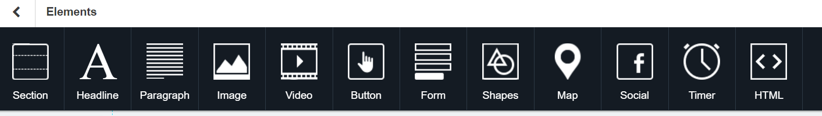 This picture shows the Instapage builder's toolbar with a variety of settings to optimize the page for conversions.