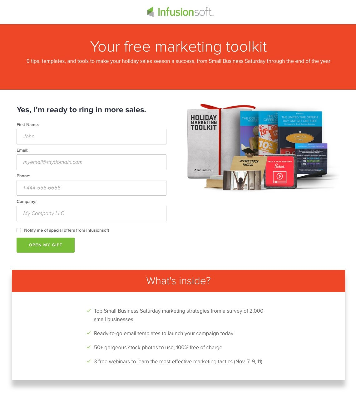 Infusionsoft Landing Pages That Establish A Great First Impression - Sales landing page template