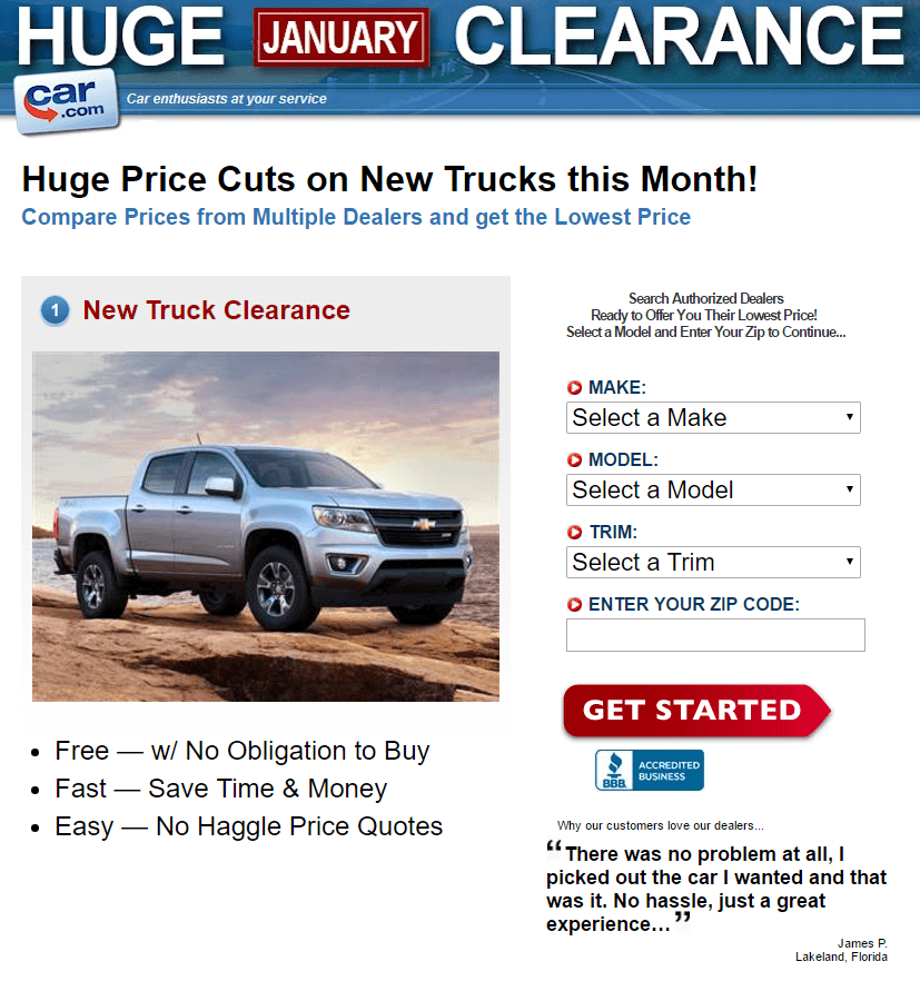This picture shows marketers how Car.com uses an optimized Tumblr landing page to convert visitors into customers.