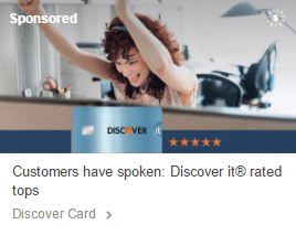 This picture shows marketers how Discover card uses ads on Tumblr to generate traffic to their Tumblr landing page.