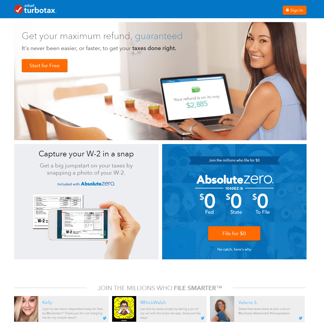 This picture shows marketers how TurboTax uses an optimized Tumblr landing page to convert visitors into customers.