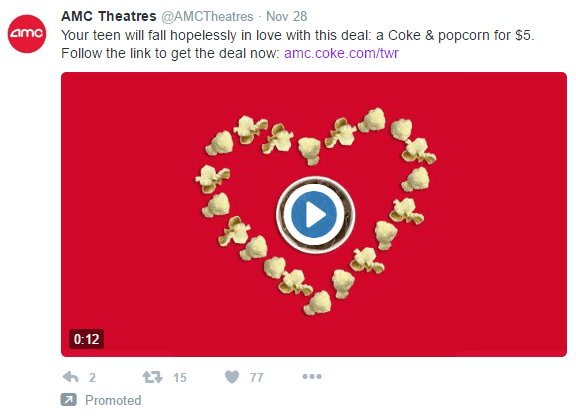 This picture shows marketers how AMC Theatres uses Twitter video ads to generate audience engagement and sales.