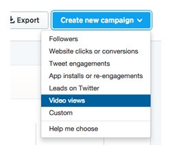 This picture shows marketers how to set up a new campaign with Twitter video ads.