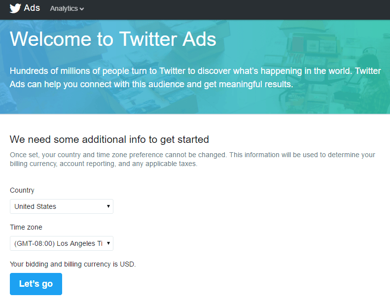 This picture shows marketers the first step how to set up a Twitter video ads campaign.
