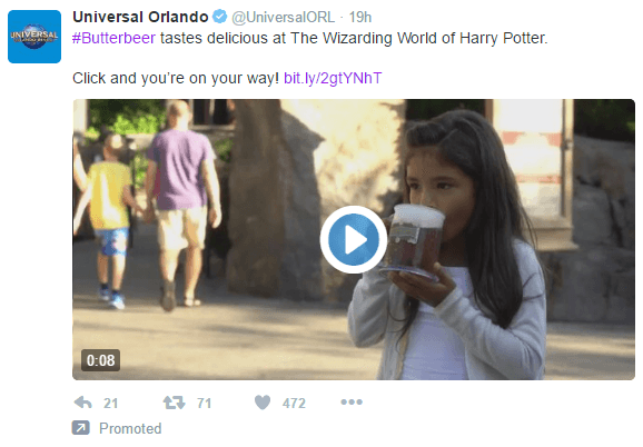 This picture shows marketers how Universal Orlando uses Twitter video ads to generate audience engagement and sales.
