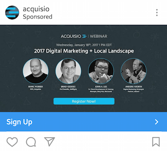 This picture shows marketers how Acquisio advertises webinars on Instagram.