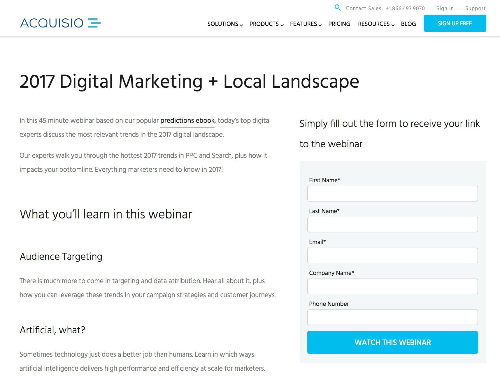 This picture shows marketers how Acquisio uses an Instagram landing page to promote their digital marketing webinar.