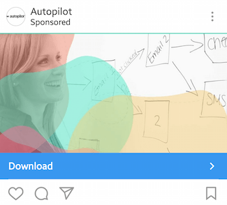This picture shows marketers how Autopilot advertises their free marketing report on Instagram.