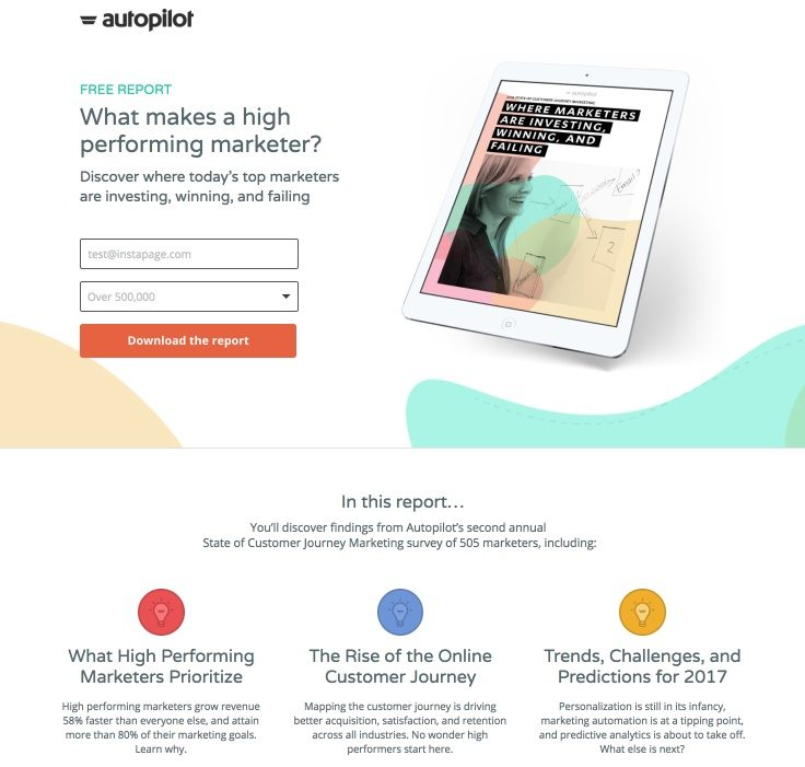 This picture shows marketers how Autopilot uses an Instagram landing page to promote their free marketing report.