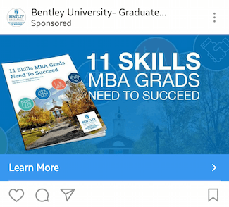 This picture shows marketers how Bentley University advertises their ebook on Instagram.