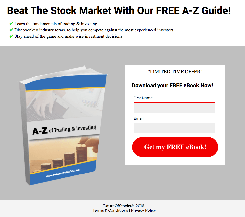 This picture shows marketers how the Future of Stocks uses an Instagram landing page to promote their free ebook.