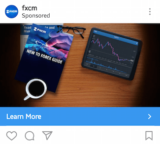 This picture shows marketers how FXCM advertises their Forex Trading guide on Instagram.
