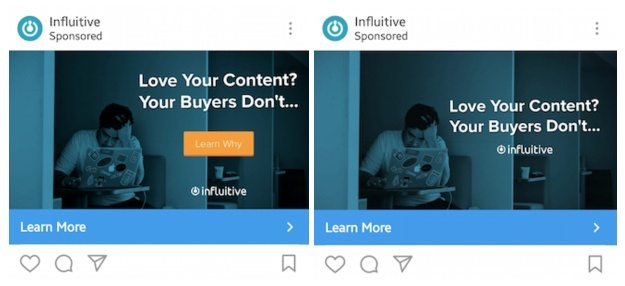 This picture shows marketers how Influitive A/B tests their Instagram ads when promoting their content marketing ebook.