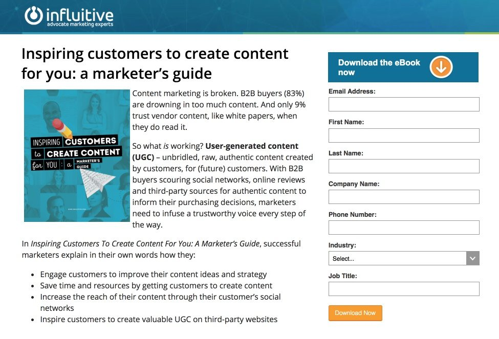 This picture shows marketers how Influitive uses an Instagram landing page to promote their content marketing ebook.