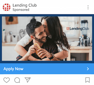 This picture shows marketers how Lending Club advertises their lending program on Instagram.