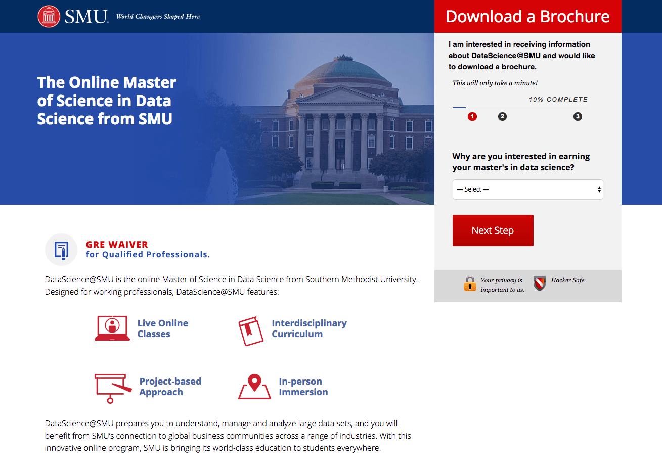 This picture shows marketers how Southern Methodist University uses an Instagram landing page to promote their Master of Science program.