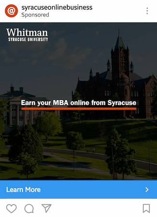 This picture shows marketers how Syracuse University advertises their online MBA program on Instagram.